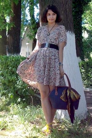 orange thrifted scarf - navy thrifted purse - dark brown belt