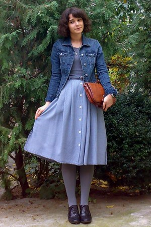navy thrifted skirt - navy denim H&M jacket - heather gray tights