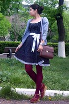 dark brown satchel Zara purse - black polka dots dress - maroon tights