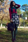Maroon-cotton-h-m-blouse-dark-green-tights-forest-green-scarf