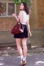 Crimson-vintage-purse-peach-socks-black-textured-tulip-thrifted-skirt