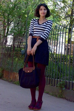 black longchamp bag - dark brown H&amp;M sweater - maroon tights