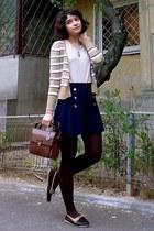 dark brown Zara purse - navy pleated thrifted shorts