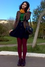 Dark-green-thrifted-sweater-brown-vero-moda-blazer-maroon-tights