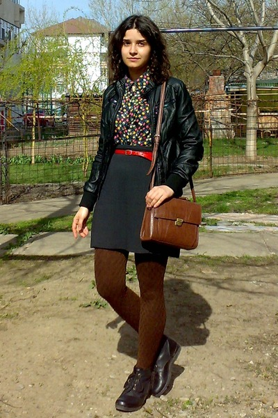 black leather jacket - black thrifted floral shirt - dark brown Zara purse