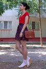 Red-dress-burnt-orange-purse-peach-socks-silver-necklace-black-skirt