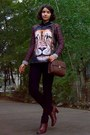 Crimson-lion-printed-sweater-burnt-orange-leather-boots