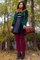 forest green velvet thrifted blazer - gray H&M sweater - maroon tights