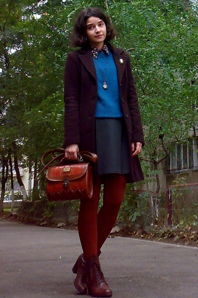 brown leather boots - dark brown coat - black floral thrifted shirt