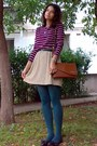 Bronze-thrifted-purse-teal-tights-maroon-striped-thrifted-blouse