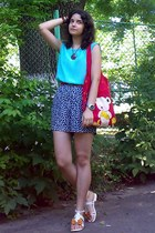 aquamarine sleeveless thrifted top - red bag - navy floral thrifted shorts