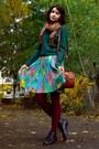 Aquamarine-pleated-skirt
