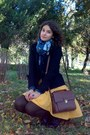 Teal-floral-scarf-brown-tights-dark-brown-satchel-zara-purse