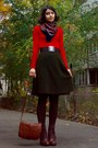 Red-sweater-army-green-skirt