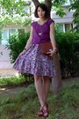 Burnt-orange-vintage-marc-chantal-purse-amethyst-floral-dress-magenta-blouse
