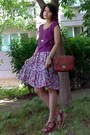 Amethyst-floral-dress-burnt-orange-vintage-marc-chantal-purse-magenta-blouse