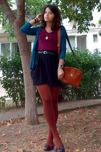 teal cardigan - crimson thrifted H&M shirt - burnt orange tights