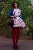floral dress - tights - thrifted purse - cardigan - belt - feng shui necklace