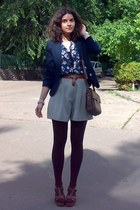 navy MBG blazer - dark brown tights and Zara purse - dark khaki thrifted shorts