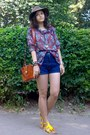 Brown-thrifted-hat-tawny-thrifted-purse-navy-high-waisted-thrifted-shorts