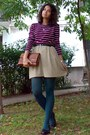 Teal-tights-bronze-thrifted-purse-maroon-striped-thrifted-blouse