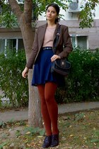 navy pleated thrifted skirt - brown thrifted blazer - burnt orange tights