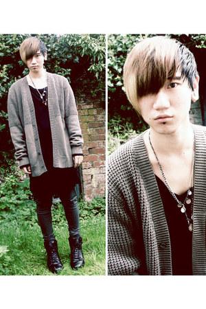 camel knitted Nique cardigan - black longline asos top