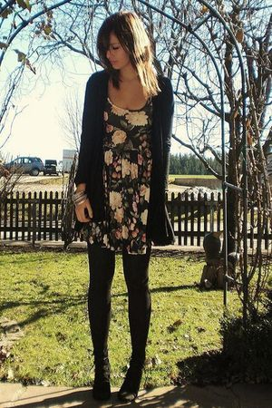 beige Topshop dress - black Dorothy Perkins cardigan - black Urban Outfitters sh