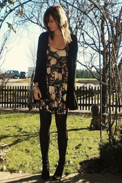 beige Topshop dress - black Dorothy Perkins cardigan - black Urban Outfitters sh