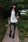 Black-charlotte-russe-blazer-gold-ruche-blouse-gray-diesel-shorts-black-al