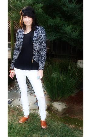 black blouse - black Forever 21 jacket - white Forever 21 jeans - brown Huarache