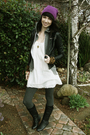 Pink-hat-black-jacket-white-dress-gray-leggings-black-shoes