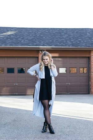 black asos boots - black Forever 21 dress - sky blue Santee Alley Shops jacket