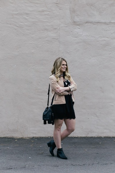 black vera wang boots - light pink thrifted vintage jacket - black H&M bag