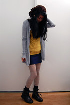dark brown knitted hat - silver H&M tights - navy bandage Forever 21 skirt