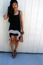 black hi-low sheer dress - beige Aldo bag