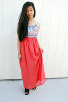 sheer maxi DIY skirt - bustier top - wedges