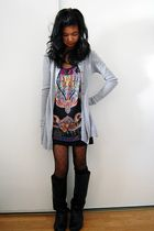 silver cardigan - purple top - black skirt - black Forever 21 tights - black soc
