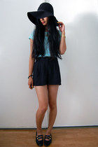 black floppy hat - black sheer shorts - aquamarine lace top