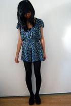 blue Target jumper - black tights - black shoes