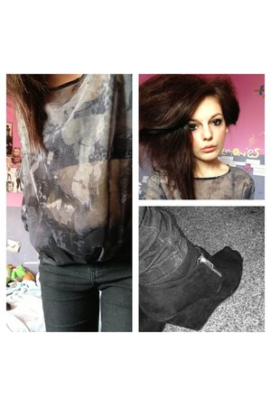gray next blouse - black Primark jeans - black new look wedges