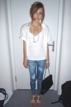 blouse - H&M shirt - Tally Weijl accessories - Zara leggings - shoes