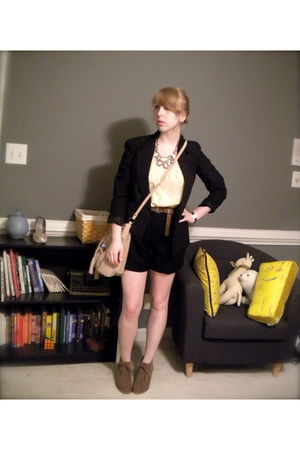 black blazer - madewell necklace - yellow Anthropologie top - black J Crew short