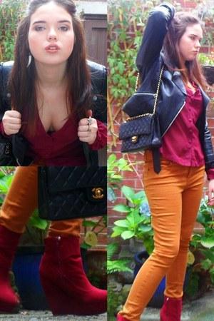 maroon Primark boots - mustard Topshop jeans - black Chanel bag