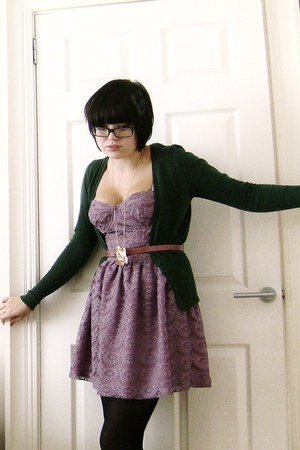 light purple Topshop dress - pink Primark belt - green Primark cardigan - gold c