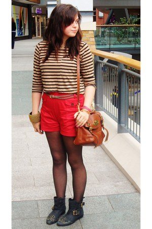 ruby red Primark shorts - black thrifted boots - burnt orange Mulberry bag