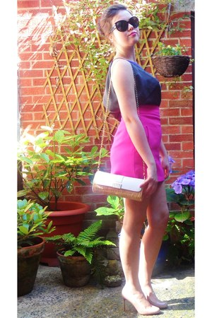 bubble gum Zara skirt - charcoal gray worn as top next dress - ivory Primark bag