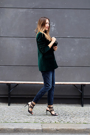 dark green weekday blazer - gray G-Star jeans - black Stella McCartney bag