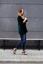 dark green weekday blazer - gray G-Star jeans - black Stella McCartney bag