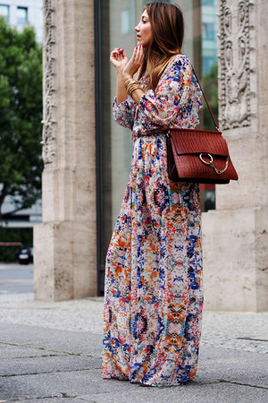 mustard Zara coat - ruby red Rebecca Minkoff dress - crimson Chloe bag